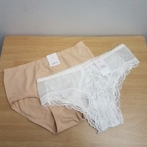 Auden Panties Size XS White Lace Solid Beige LOT 2